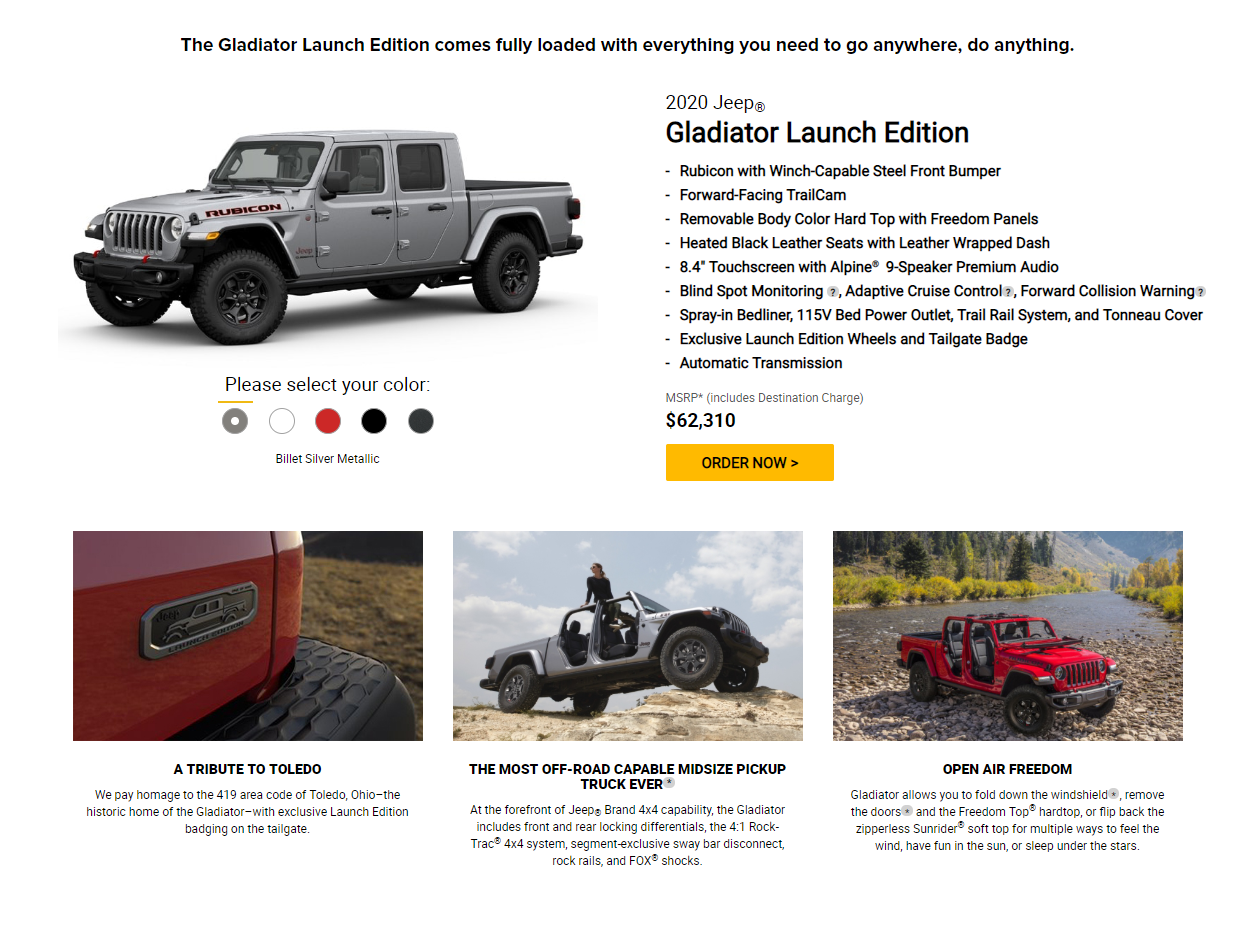 2020 Jeep Gladiator Launch Edition Ordering Goes Live Jeep Gladiator Forum Jeepgladiatorforum Com