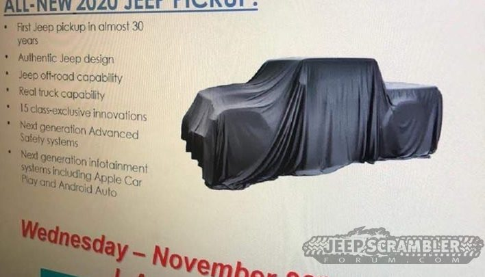 2020 Jeep Pickup Truck Teased In Fca Dealer Presentation